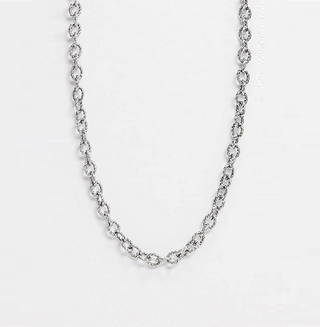 Inspired Chunky Neckchain with Texture Design in Burnished Silver