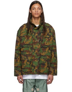 Green Camo All Over Padded Field Jacket