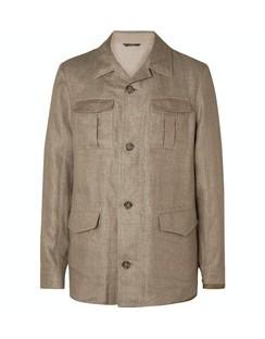 Linen-Blend Field Jacket