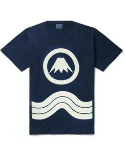 Indigo-Dyed Printed Cotton-Jersey T-Shirt