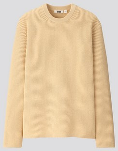 U ribbed crew neck L/S sweater
