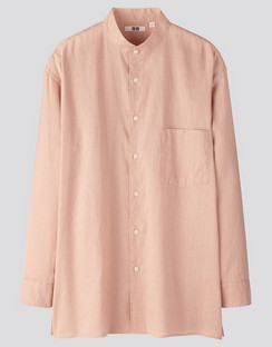 U Linen cotton stand collar L/S shirt