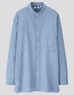 U Denim stand collar L/S shirt