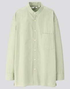 U Striped stand collar L/S shirt