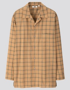 U Modal cotton checked open collar L/S shirt