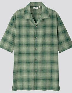 U Linen cotton checked open collar S/S shirt