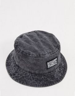 Inspired Logo Bucket Hat in Washed Grey