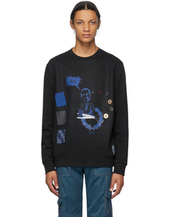 SSENSE Exclusive Black Buttons Sweatshirt