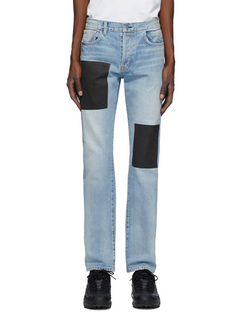 SSENSE Exclusive Blue Patched Jeans