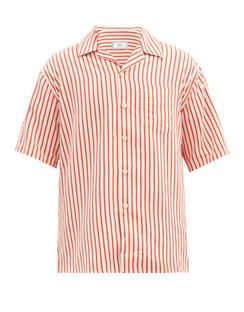 Cuban-collar Striped Shirt