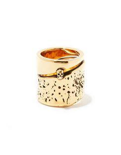 Molten Skull Brass Ring