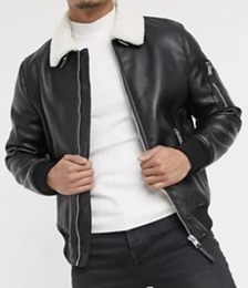 Bomber Jacket in Faux Leather with Borg Collar