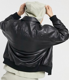 Oversized Faux-leather Bomber in Black