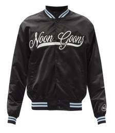 Elysian crystal-logo satin varsity jacket