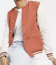Denim Varsity Jacket in Rust