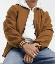 Actual Wool-mix Varsity Bomber Jacket in Tan