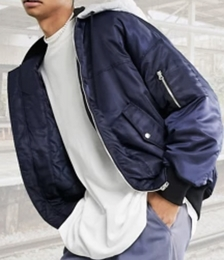Bomber Jacket with Jersey Hood in Navy