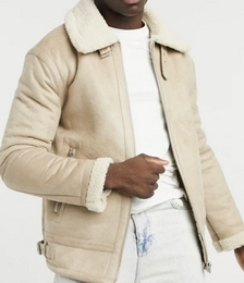 Faux Shearling Aviator Jacket in Stone
