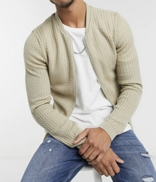 Knitted Basket Stitch Bomber Jacket in Oatmeal