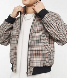 Oversized Wool Mix Funnel Neck Bomber Jacket in Grey Check
