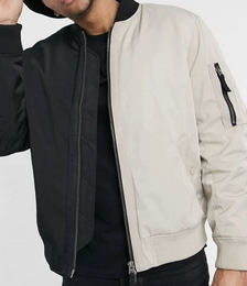 Cut and Sew Bomber Jacket in Black and Stone