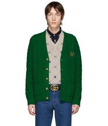 Green Wool GG Cardigan