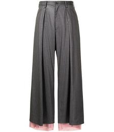 Stripe-print Wide-leg Trousers