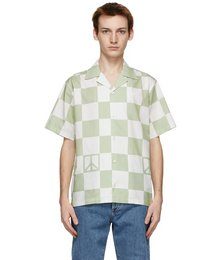 White & Green Canty Peace Short Sleeve Shirt