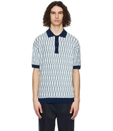 SSENSE Exclusive Blue Wool Textured Polo