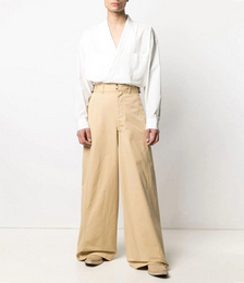 High-waist Flared Cotton Trousers