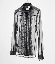 Regular Fit Ruffle Front Mesh Shirt in Black
