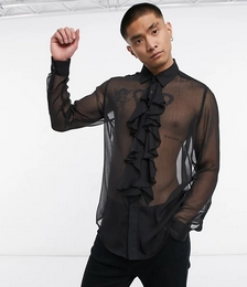 Regular Fit Textured Shirt with Ruffle Front Bib Detail in Black