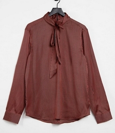 Regular Fit Pussy-bow Shirt in Copper Stripe Satin