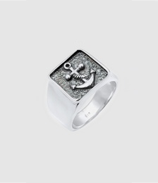 Men Signet Ring Anchor Oxidized 925 Sterling Silver