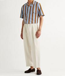 Wide-Leg Pleated Linen Trousers