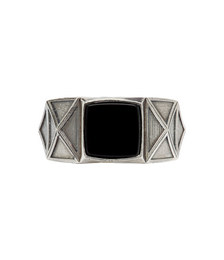 Silver & Black Square Ring