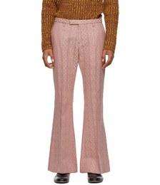 Pink Wool & Silk Jacquard Flared Trousers