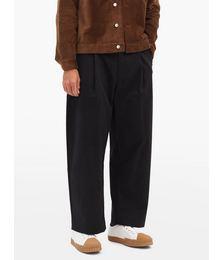 Sorte Pleated Cotton-twill Wide-leg Trousers