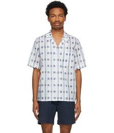 Blue & White Art Deco Check Short Sleeve Shirt