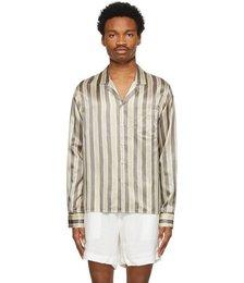 Tan & Grey Silk Flag Stripe Shirt