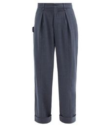 Contrast-stitch Wool-blend Wide-leg Trousers
