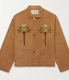 Short On Time Embroidered Organic Cotton-Twill Jacket