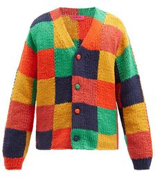 Checkerboard Organic-cotton Cable-knit Cardigan
