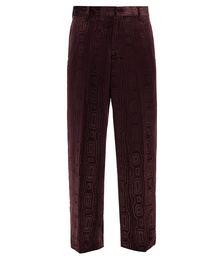 Carding Devoré-velvet Wide-leg Suit Trousers