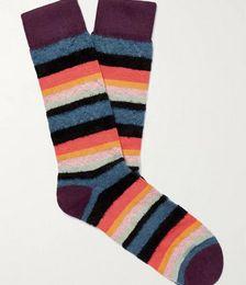 Striped Textured-Knit Socks