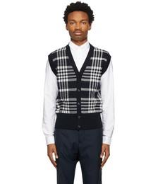 Navy Knit Check Vest
