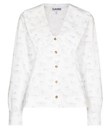Cat-print Bib-collar Shirt