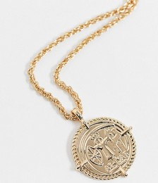 Neckchain with Coin Pendant in Gold Tone