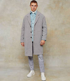 Dropped Shoulder Coat with Wool in Grey
