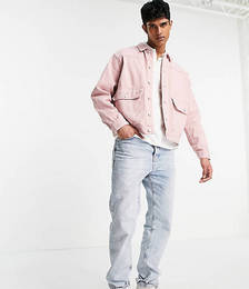 Denim Jacket with Pockets in Pink